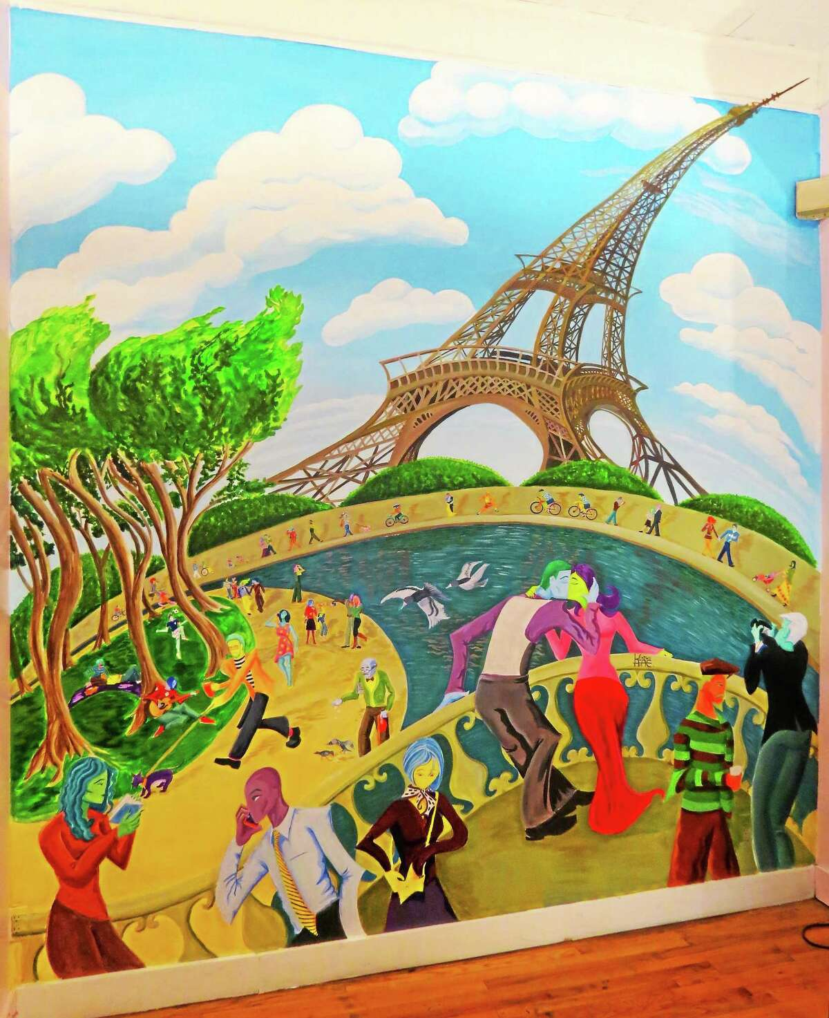 The mural at Marjolaine Pastry Shop.