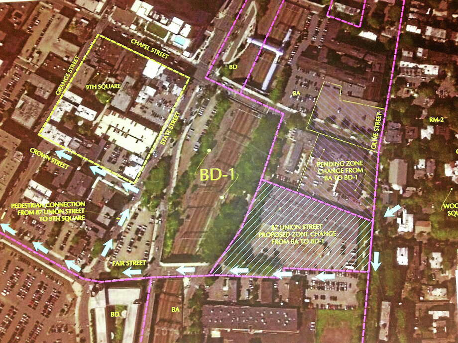 Map of area between Olive and Union street proposed for apartments. Photo: Journal Register Co.