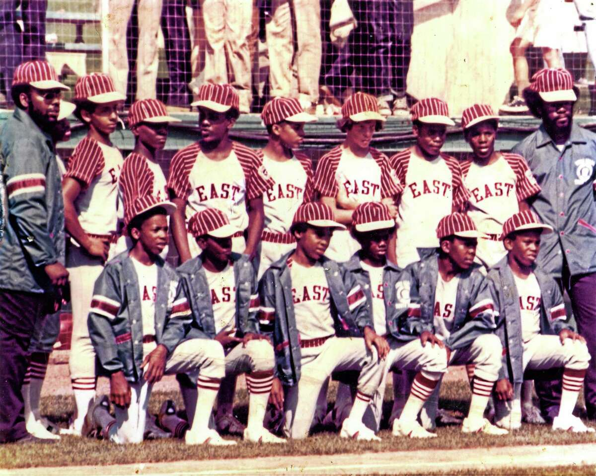 Members of the Pop Smith Little League All-Stars line up in front of the dugout at the 1974 Little League World Series.