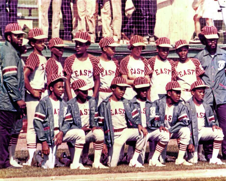 Members of the Pop Smith Little League All-Stars line up in front of the dugout at the 1974 Little League World Series. Photo: Submitted Photo