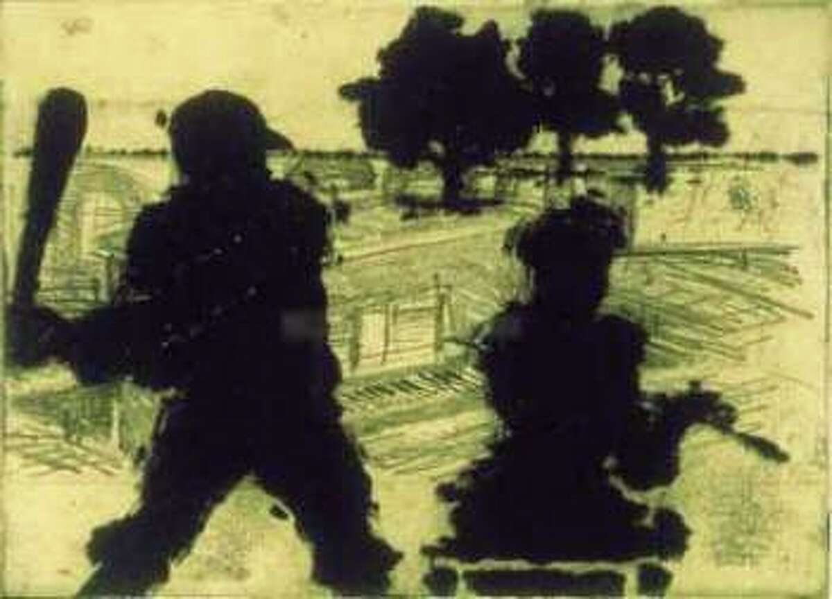 """Terry Allen's 1996 """"Hitter"""" is a soft ground and aquatint etching with sugar lift and chine colle."""