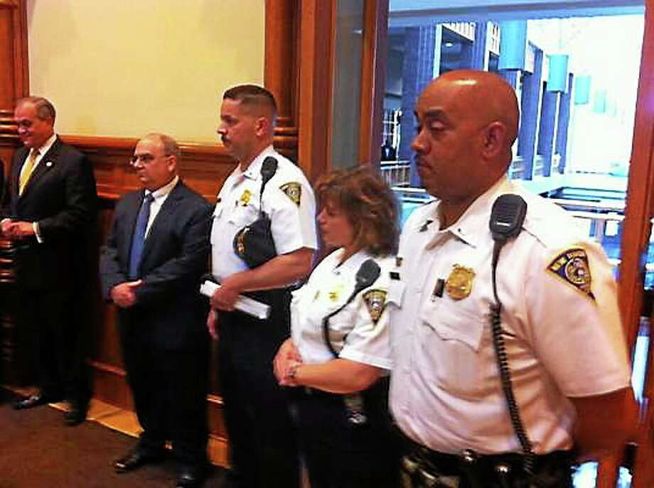 Assistant Chief Thaddeus Reddish (on far right) is up for the job of police chief in St. Petersburg, Fla. Photo: Journal Register Co.