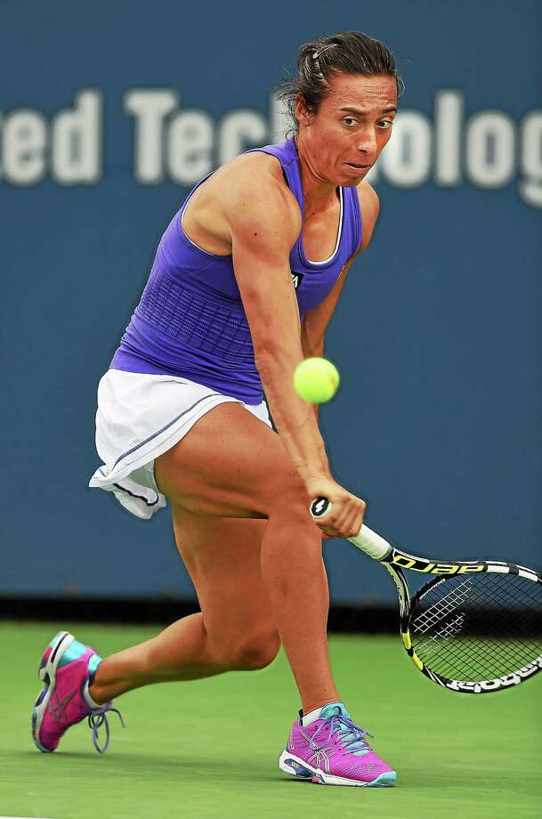 Francesca Schiavone defeated Tsvetana Pironkova in the first round of qualifying at the Connecticut Open on Friday at the Connecticut Tennis Center. Photo: Mara Lavitt — Register   / Mara Lavitt