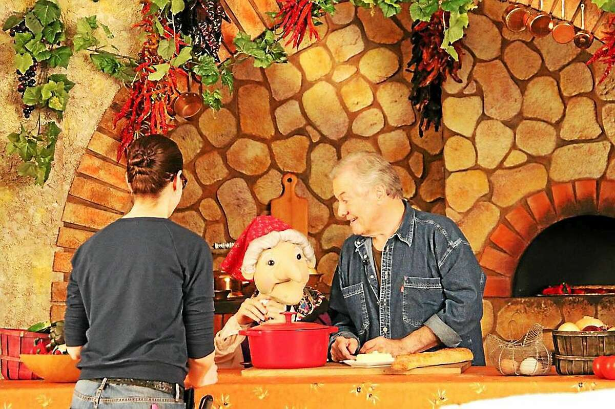 Celebrity Chef Jacques Pepin (a Madison resident) stopped by to shoot a scene with La Befana for a video. Contributed photo