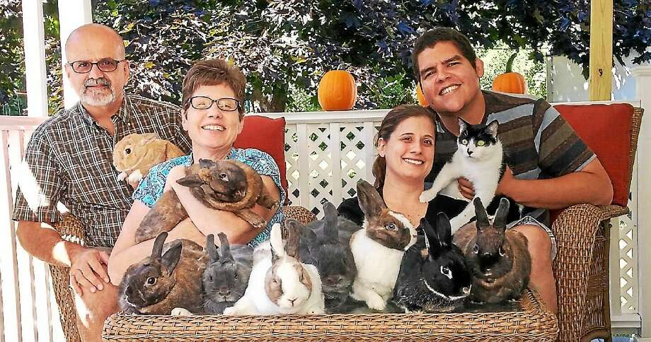 In this provided photo from the Morgias, the family poses for their 2014 Christmas card photo. From left to right: Al Morgia, his wife Debbie, the bunnies, daughter Alison Morgia, her boyfriend Max Lara and the daughter's cat Pepper. Photo: Journal Register Co.