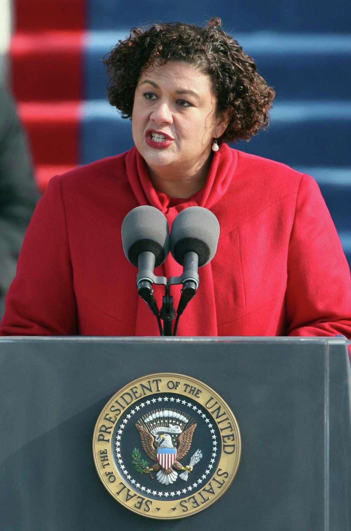 Elizabeth Alexander recites a poem at President Barack Obama's inauguration in 2009.