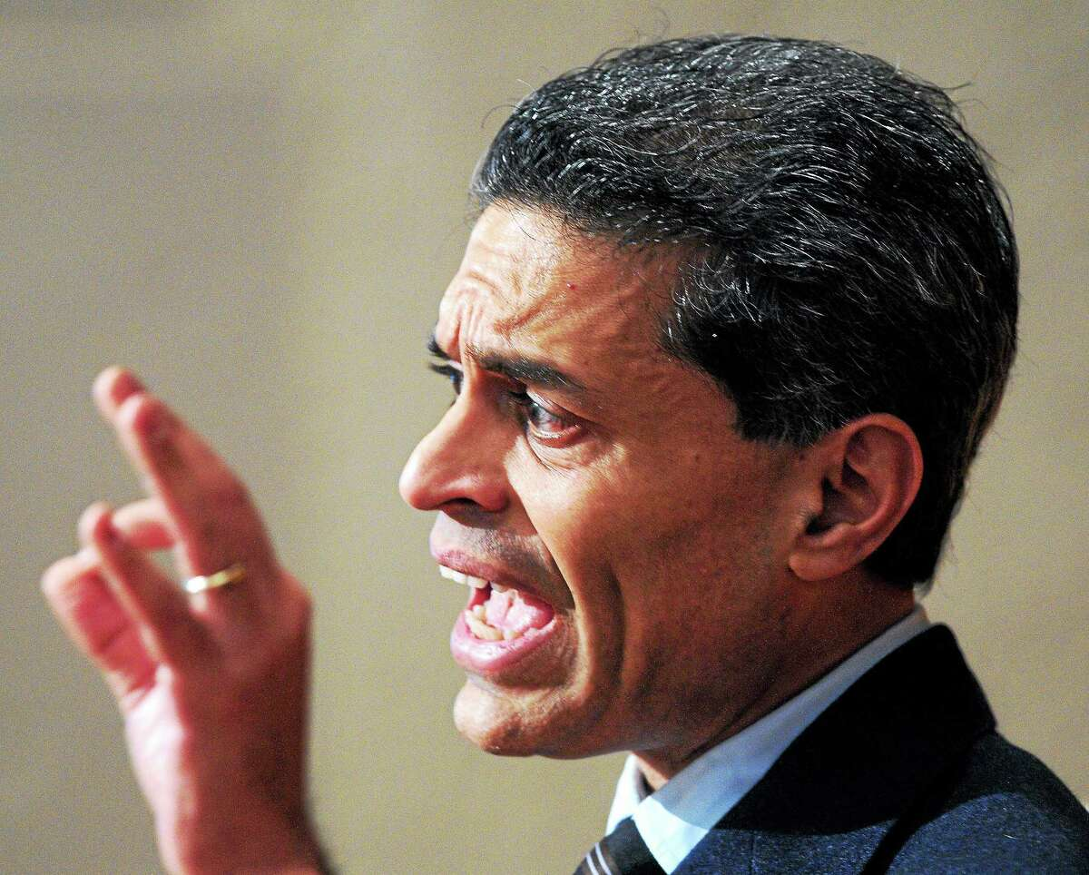 """Journalist and author Fareed Zakaria gives a talk, """"Is the American Dream Dead?, """" at the Yale Law School on 2/26/2014."""