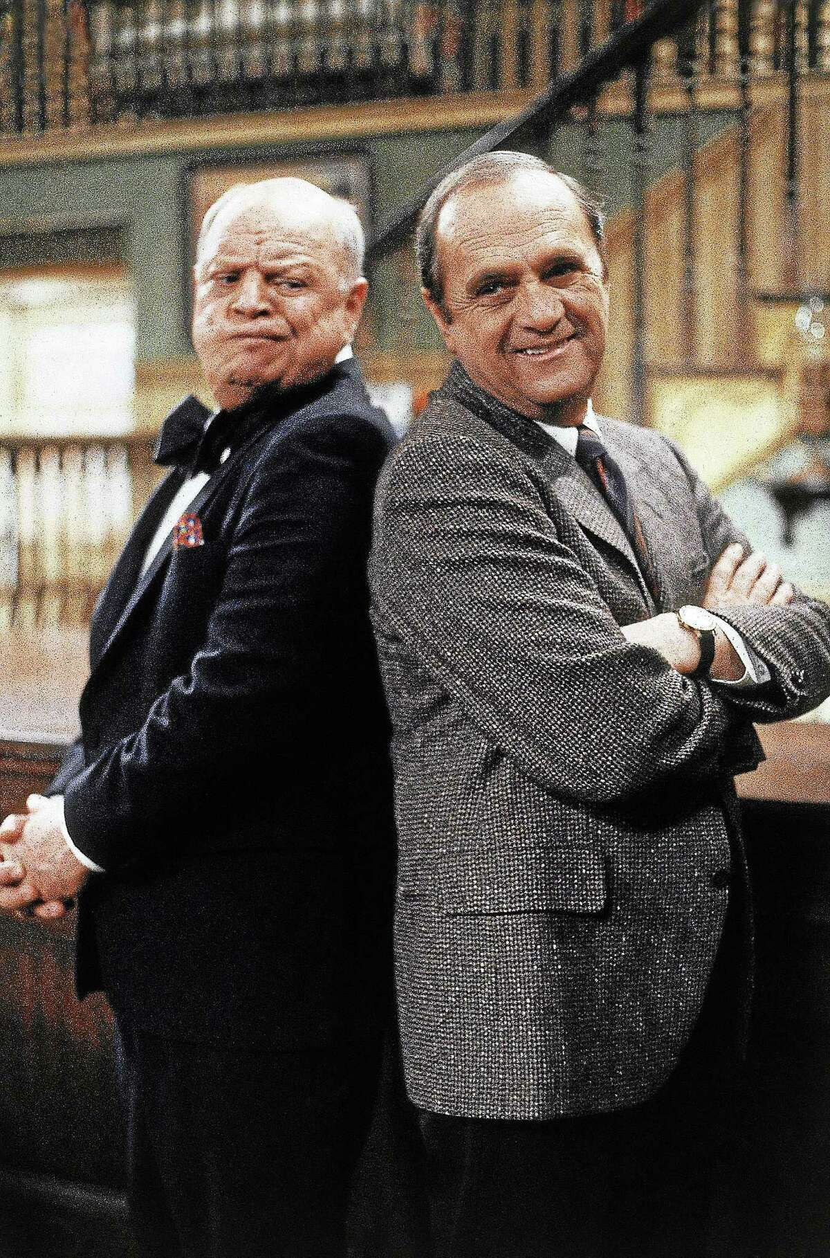 """Bob Newhart and Don Rickles square off during a scene for an episode of """"Newhart"""" in 1989."""