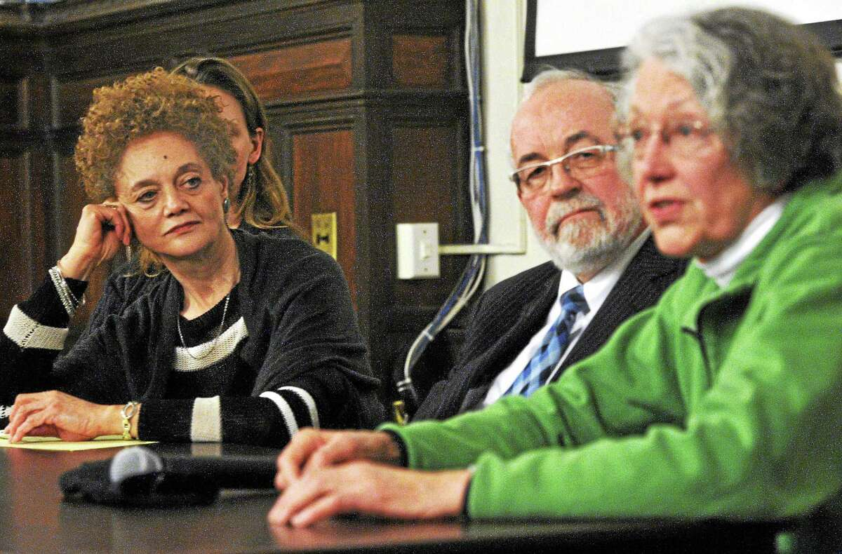 From left, Kathleen Cleaver, senior research scholar at Yale Law School and former communications secretary for the Black Panthers; New Haven attorney John Williams; and Ann Froines, one of the organizers of the 1970 May Day rally on the New Haven Green, talk about the Panthers, the FBI and the 1970 May Day rally on the Green during a discussion Wednesday at Yale's Sterling Memorial Library.