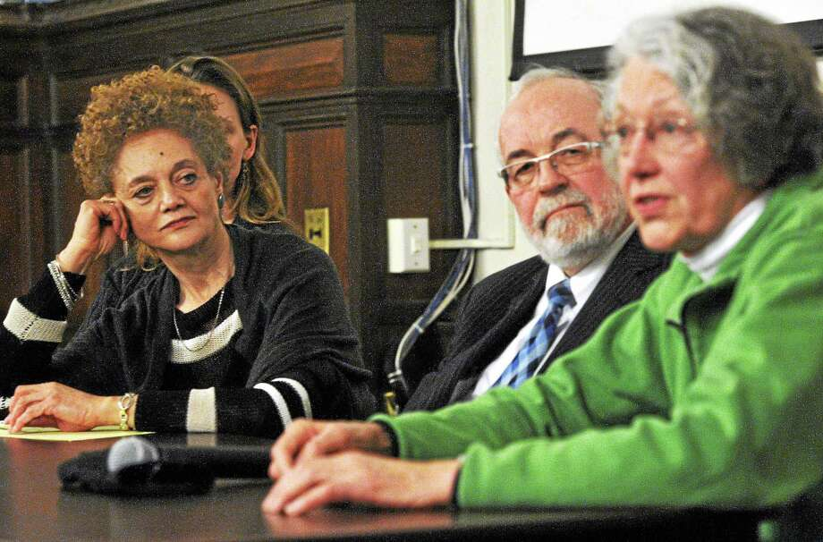 From left, Kathleen Cleaver, senior research scholar at Yale Law School and former communications secretary for the Black Panthers; New Haven attorney John Williams; and Ann Froines, one of the organizers of the 1970 May Day rally on the New Haven Green, talk about the Panthers, the FBI and the 1970 May Day rally on the Green during a discussion Wednesday at Yale's Sterling Memorial Library. Photo: Mara Lavitt — New Haven Register      / Mara Lavitt