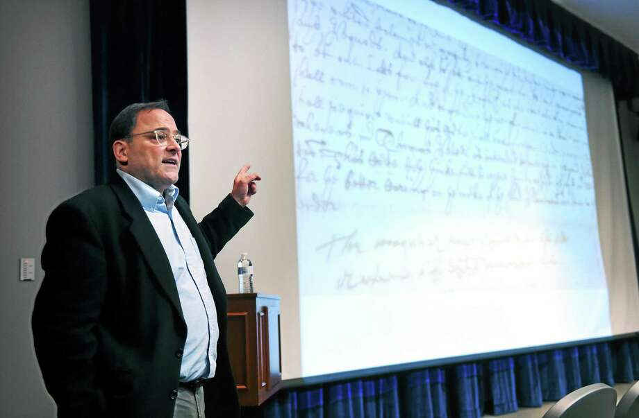 Paul Grant-Costa gives a presentation on the Yale New England Indian Papers Project at the Adanti Student Center at Southern Connecticut State University on December 6, 2014. Photo: (Arnold Gold — New Haven Register)