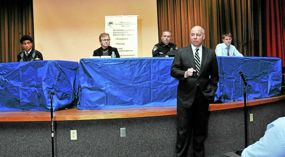 Michael Lawlor, Office of Policy & Management, speaks during Racial Profiling Town Hall Meeting sponsored by the Commission on Human Rights and Opportunities (CHRO) at Career High School in Hew Haven. Photo: File Photo — New Haven Register