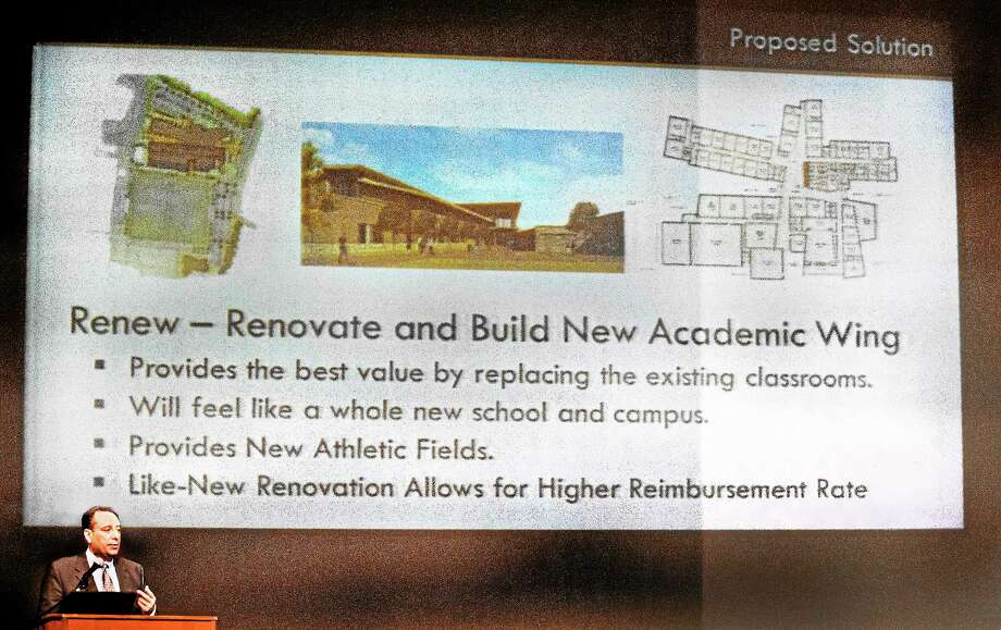 Joe Costa of Perkins, Eastman, a planning, design and consulting firm, addresses the audiance at North Haven High School June 3 during a presentation on proposed renovations to North Haven Middle School. Photo: (Melanie Stengel — New Haven Register File Photo)