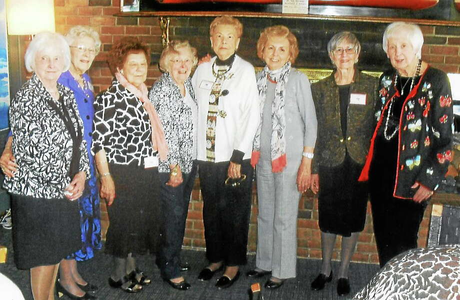 Attendees at the New Haven Woman's Club farewell luncheon included members of its executive board: Mary Jane Conroy, left, Janet Burblis, Lorraine Burns, Pauline Mower, Gloria Leslie, Marge Lostritto, Anne Marnic and Shirley Gustafson. Photo: New Haven Woman's Club
