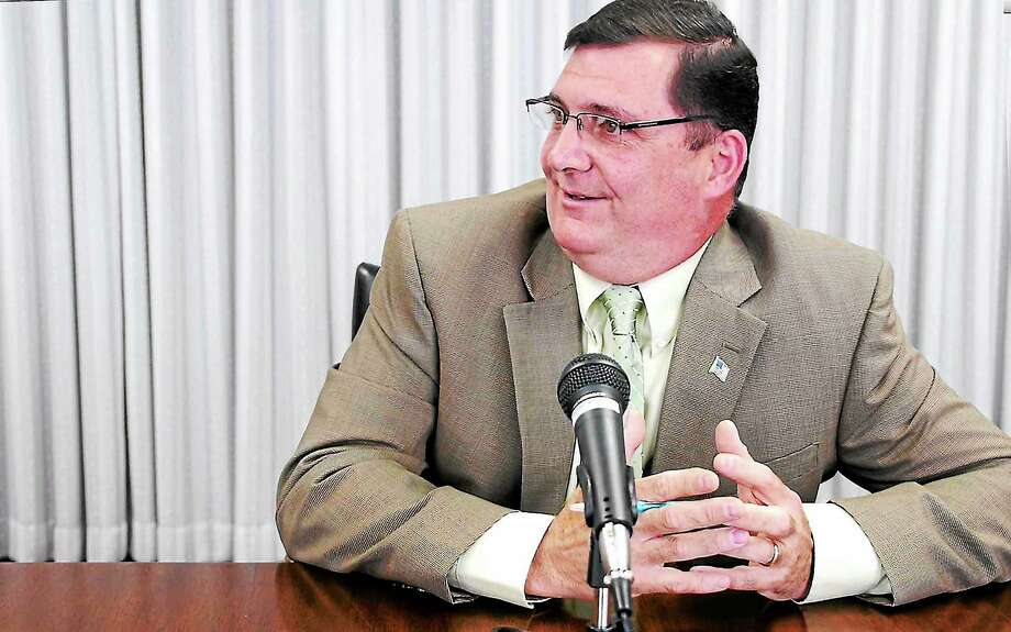 Ed O'Brien meets with the New Haven Register editorial board August 19, 2013. Photo: Journal Register Co.