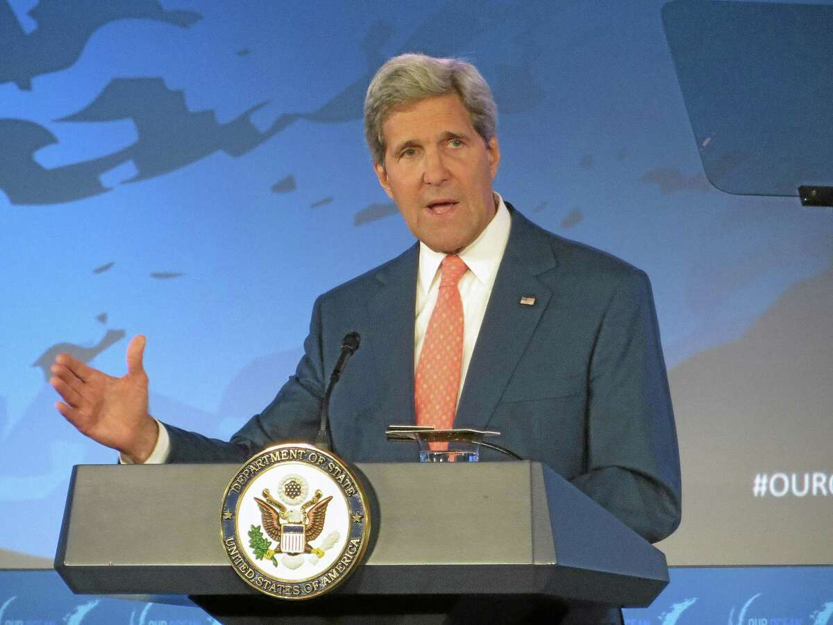 Secretary of State John Kerry addresses the Our Ocean conference Monday at the State Department in Washington.