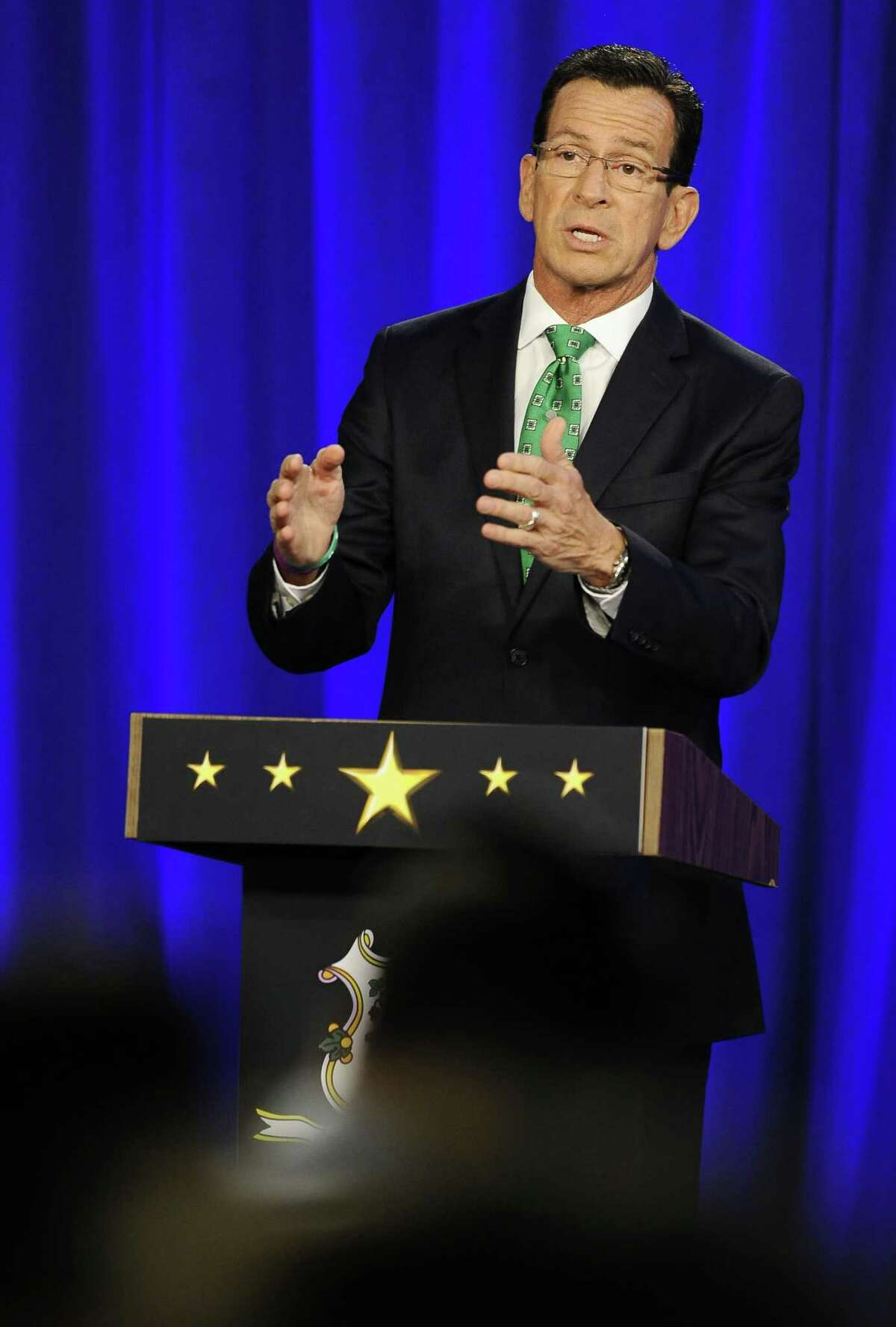Gov. Dannel P. Malloy speaks during a debate with Republican candidate for governor Tom Foley Thursday in Hartford.