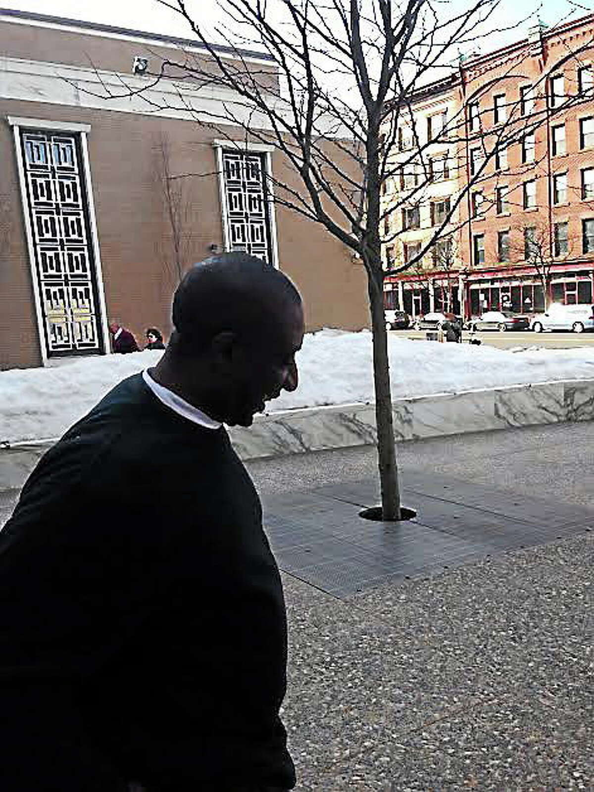 Mark Reid leaving court in Hartford Tuesday. Contributed photo.