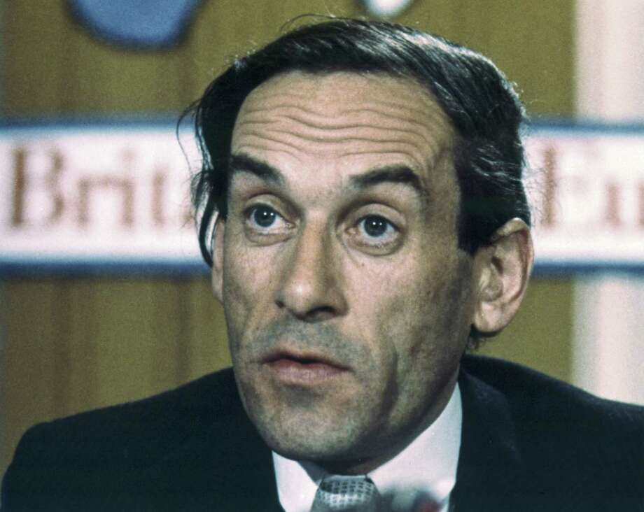 FILE - In this file photo dated 1975 portrait of Britain's Liberal Party leader Jeremy Thorpe. It is announced Thursday Dec. 4, 2014, that Thorpe has died aged 85. Tributes have been paid to former Liberal Party leader Thorpe, who fought for investment in his beloved North Devon area of England, and against apartheid in South Africa, but his political career was ended by a court case and alleged homosexual relationship, which was illegal at the time.  (AP Photo/Lawrence Harris, FILE) Photo: AP / AP