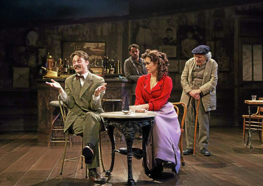 "Robbie Tann, left, Grayson DeJesus, Dina Shihabi and David Margulies in a scene from ""Picasso at the Lapin Agile."" Photo:  T. Charles Erickson - Long Wharf Theatre"