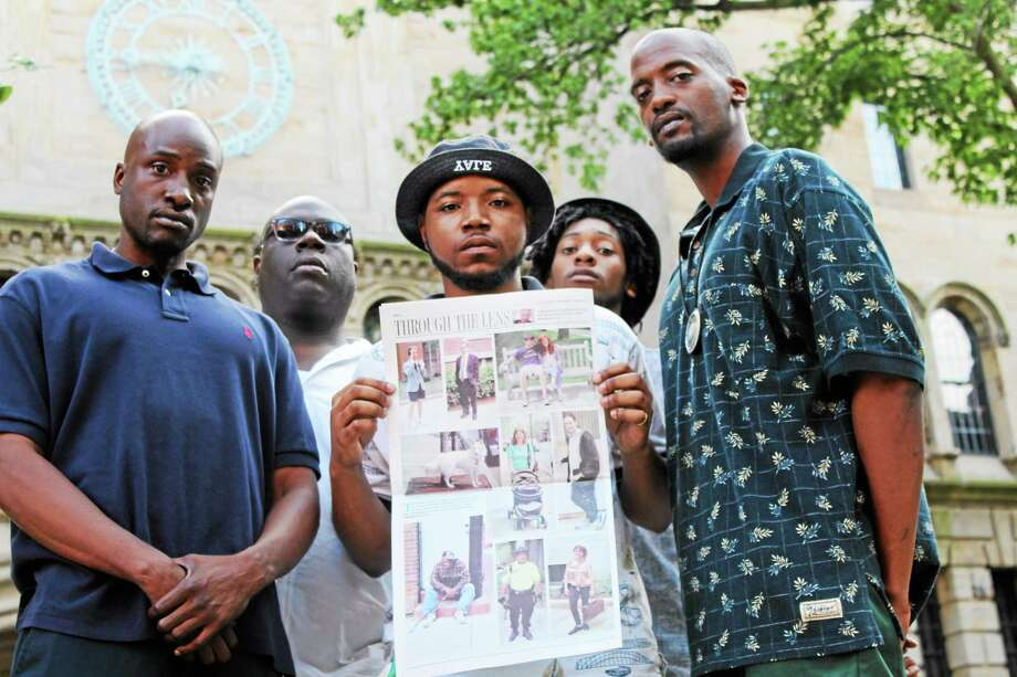 City residents enraged over photo used by Yale Daily News. Earl Bloodworth, Nadir Salaam, Andre Buchanan, Aquil Salaam and Chris Smith. Photo: Journal Register Co.