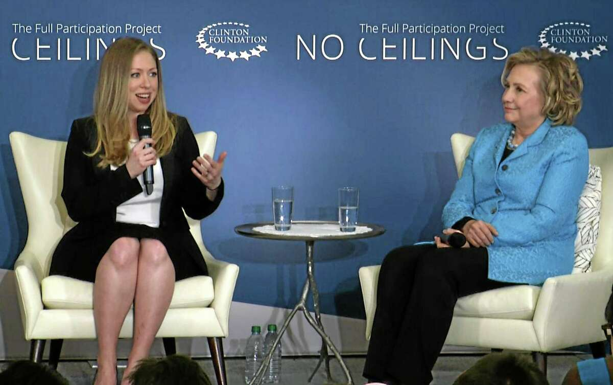 In this image taken from video, Chelsea Clinton, left, speaks to the audience as she co-hosts ìGirls: A No Ceilings Conversation,î with her mother, former Secretary of State Hillary Rodham Clinton, in New York, Thursday, April 17, 2014. The daughter of former president Bill Clinton and the former Secretary of State announced at the event that she is pregnant with her first child at the Clinton Foundation event. (AP Photo/Ted Shaffrey)