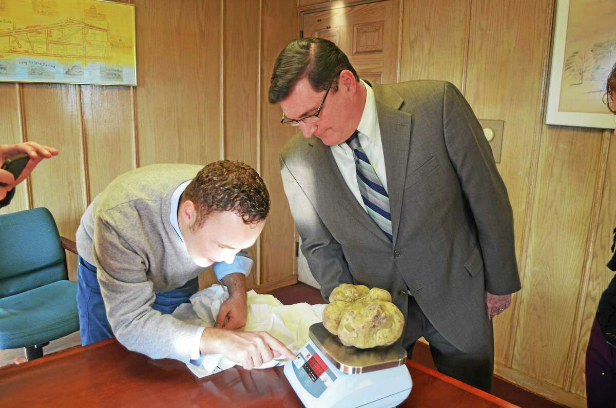 West Haven Mayor Edward M. O'Brien, right, witnesses a truffle being weighed by Sabatino Tartufi CEO Federico Balestra at City Hall Thursday.