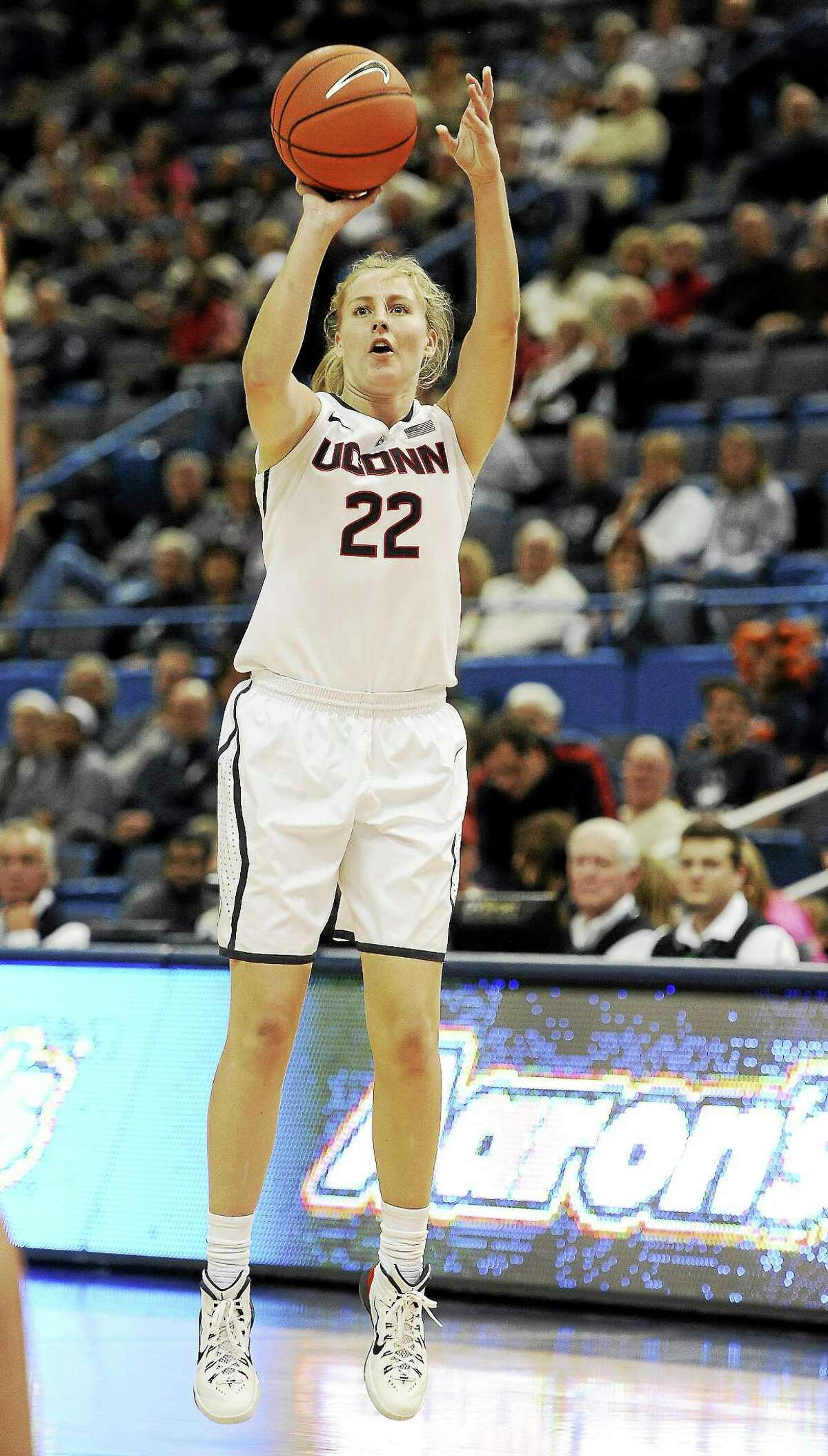 UConn's Courtney Ekmark shoots during the first half of a Nov. 9 game.