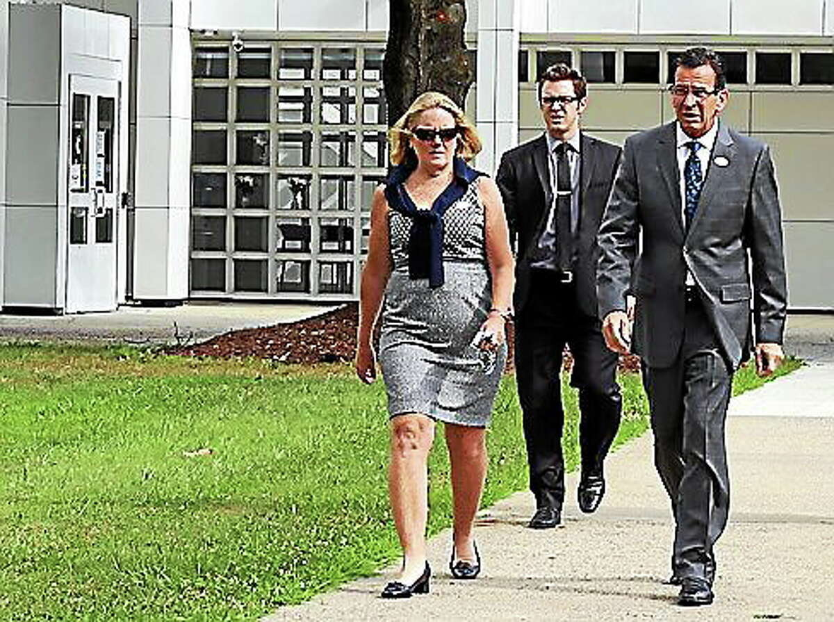 Gov. Dannel P. Malloy and his wife Cathy Malloy after voting Tuesday.