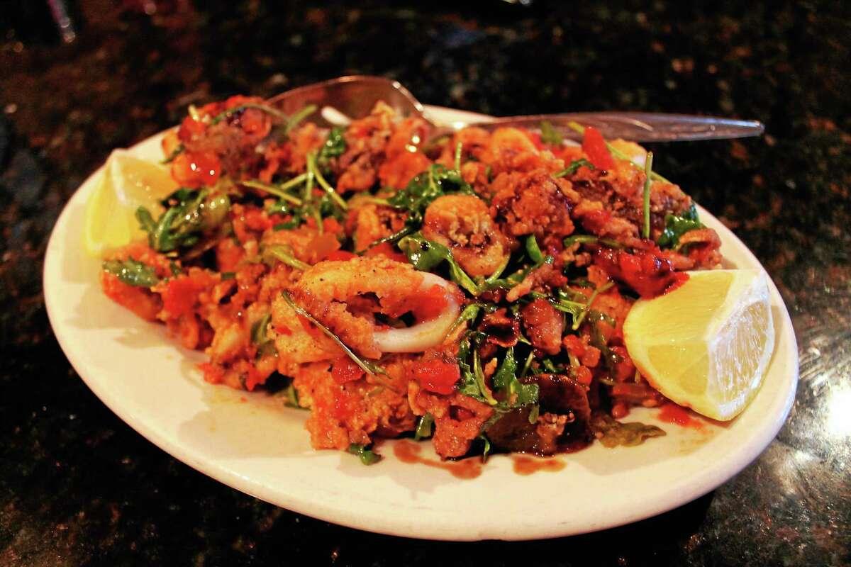 Antonio's New York-style flash-fried calamari complete with arugula.