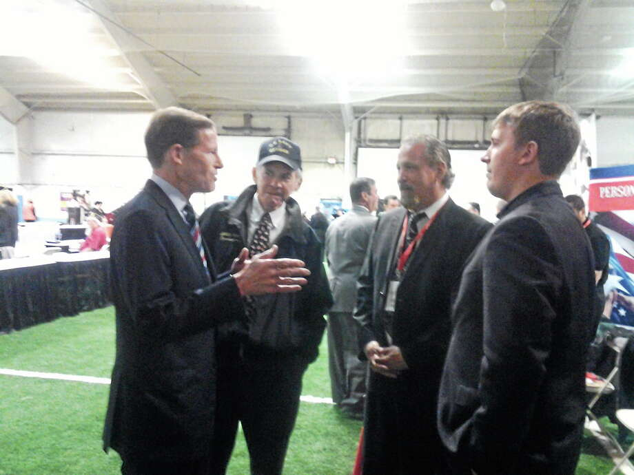 U.S. Sen. Richard Blumenthal, D-Conn., speaks to veterans at the Hiring for Heroes job fair Wednesday in Hamden. Photo: EBONY WALMSLEY — NEW HAVEN REGISTER