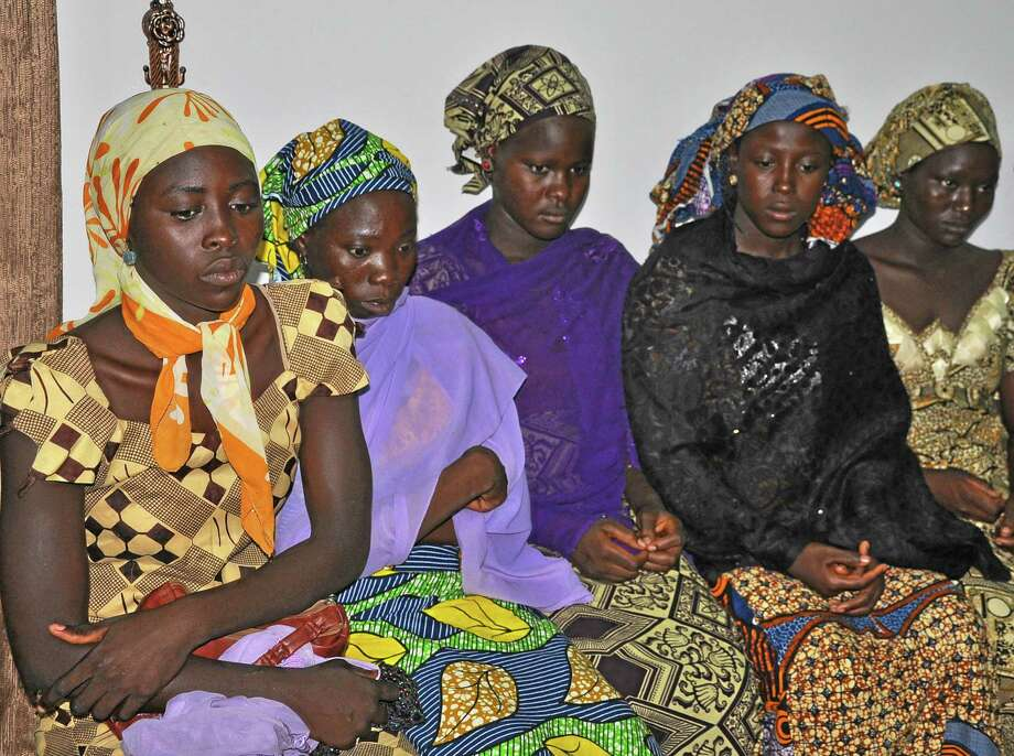 Some of the escaped kidnapped girls of the government secondary school Chibok, attend a meeting with Borno state governor, Kashim Shettima, in  Maiduguri, Nigeria, Monday, June 2, 2014.  (AP Photo/Jossy Ola) Photo: AP / AP