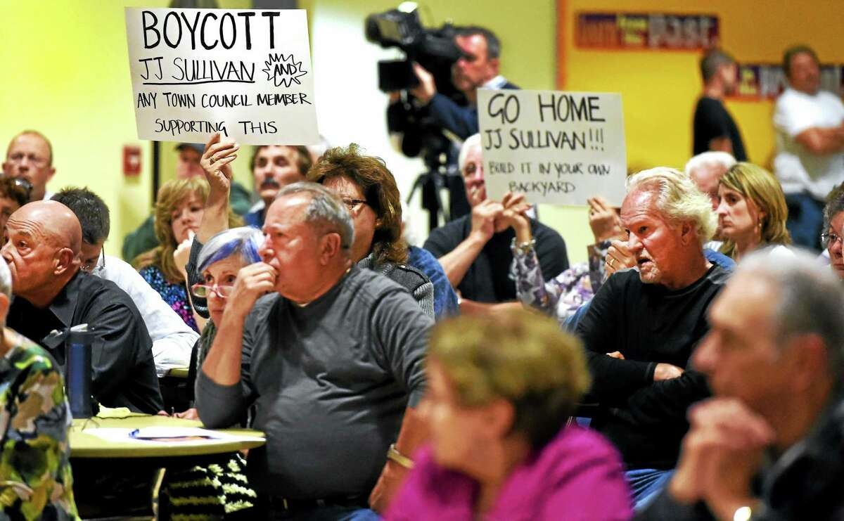 Residents protest the proposed J.J. Sullivan bulk propane storage tanks in North Branford during a Town Council meeting Tuesday.