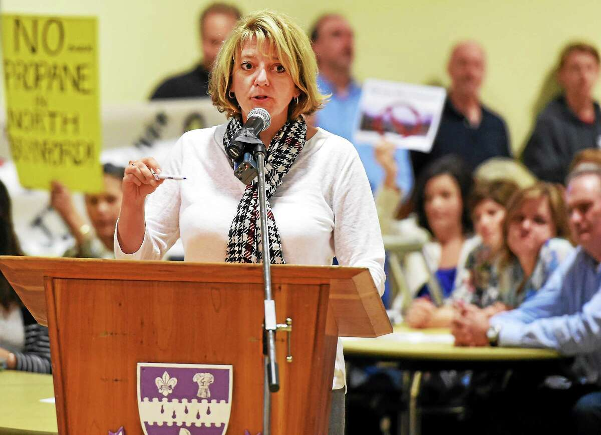 Kristin L. Butler, executive director of Evergreen Woods retirement community in North Branford, representing residents at Evergreen Woods, opposes the proposed propane storage at Tuesday's council meeting.