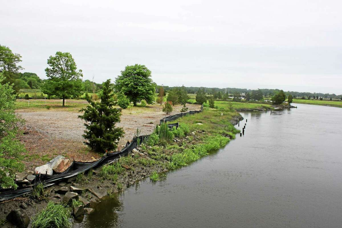 The site of the proposed marina along the East River. Register photo - Sean Carlin