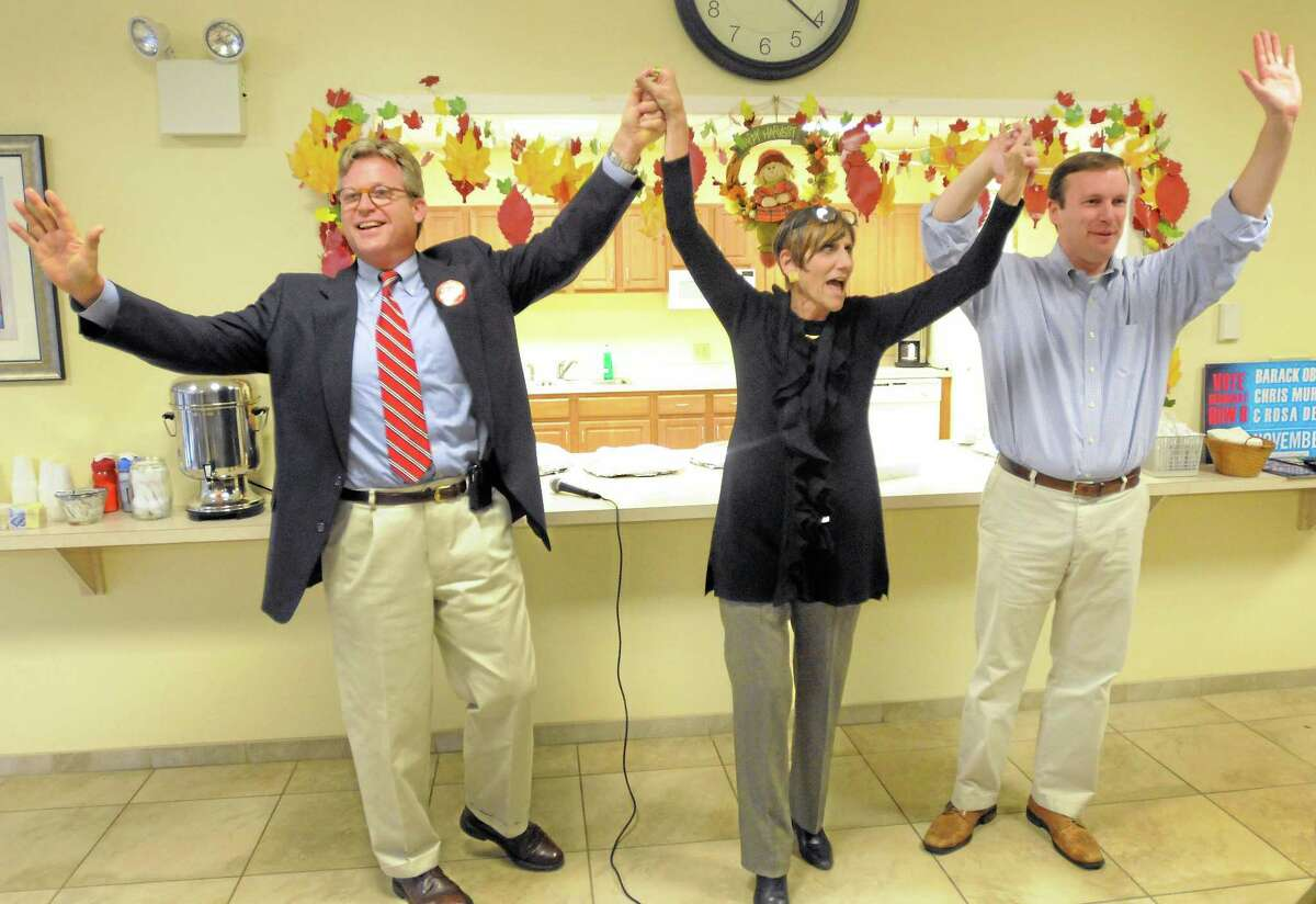 Left to right: Ted Kennedy, Jr. of Branford, son of the late U.S. Senator from Massachusetts Ted Kennedy, Congresswoman Rosa DeLauro of New Haven, center, then-democratic U.S. Senate candidate Chris Murphy, right, at the Park Ridge Apartments, a senior housing complex at 40 Austin Street in New Haven on November 2, 2012.