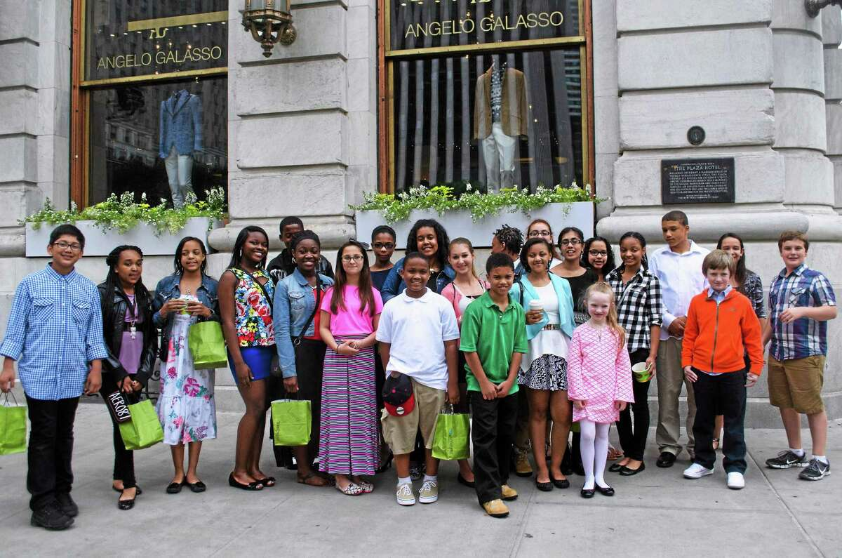 ACES Wintergreen Interdistrict Magnet School students outside The Plaza in New York City.