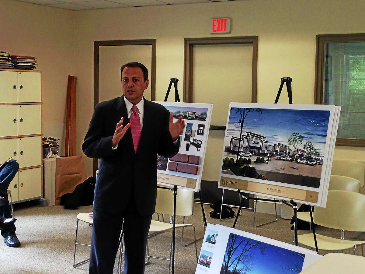 Frankie Campione, the architect of the project, presenting the plans for a development at Guilford Commons.