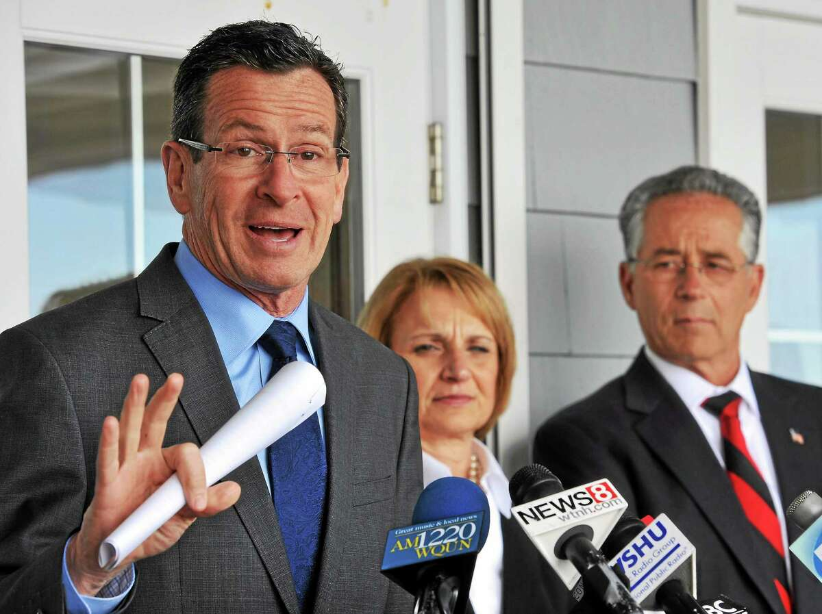 (Mara Lavitt ó New Haven Register) March 20, 2014 East Haven Gov. Dannel P. Malloy with CT Dept. of Housing Commissioner Evonne Klein and East Haven Mayor Joseph Maturo, urged the legislature to launch the Shoreline Resiliency Fund to help homeowners protect their homes and businesses from coastal flooding. mlavitt@newhavenregister.com