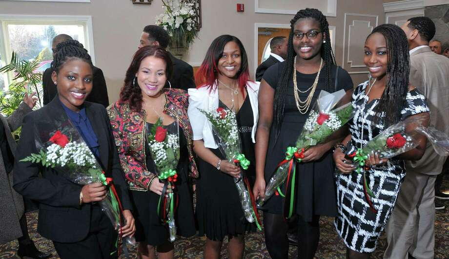 (Peter Casolino-New Haven Register)   Winners of the scholarship awards pose at the  West Haven Coalition's 28th annual Carroll E. Brown Scholarship and Community Awards dinner. The event was held at the Fantasia catering facility in North Haven. They are, left to right; Noumso Kaba a Jr. at UNH, Maria Gant a Freshman at Elon University, Paige Wade-Willoughby a Jr. at UNH, Brandi Barlow a Soph. at Eastern CT University and Tannis Neal a Sophmore at Salve Regina University.  pcasolino@NewHavenRegister Photo: Journal Register Co.