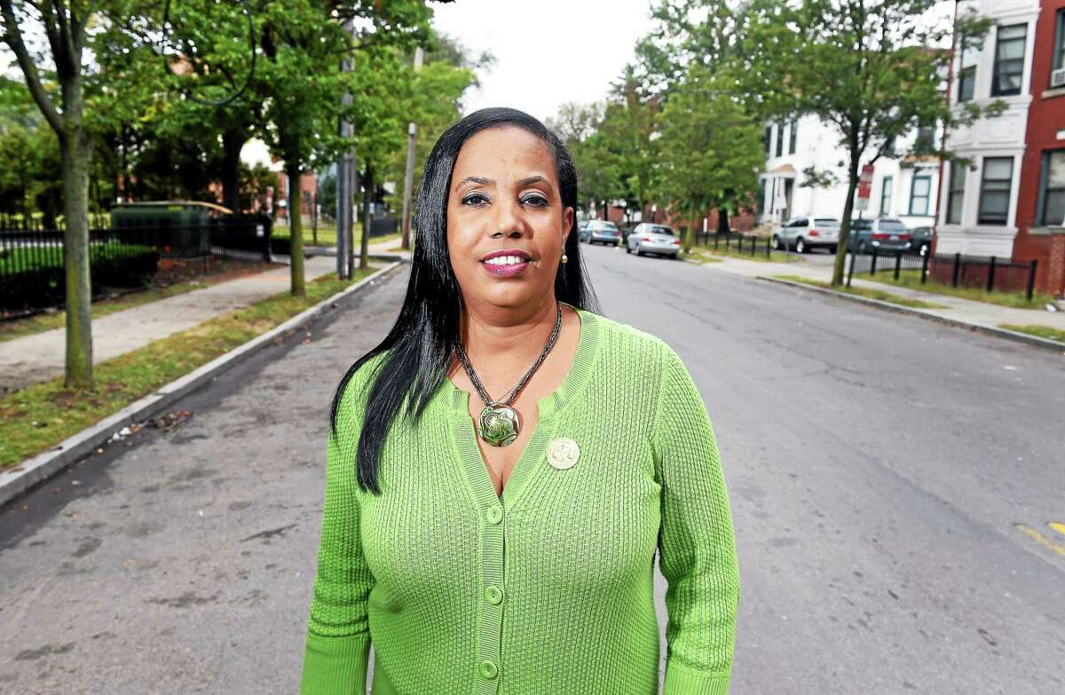 Dori Dumas, the new President of the Greater New Haven Branch of the NAACP, is photographed in New Haven on 10/2/2014.