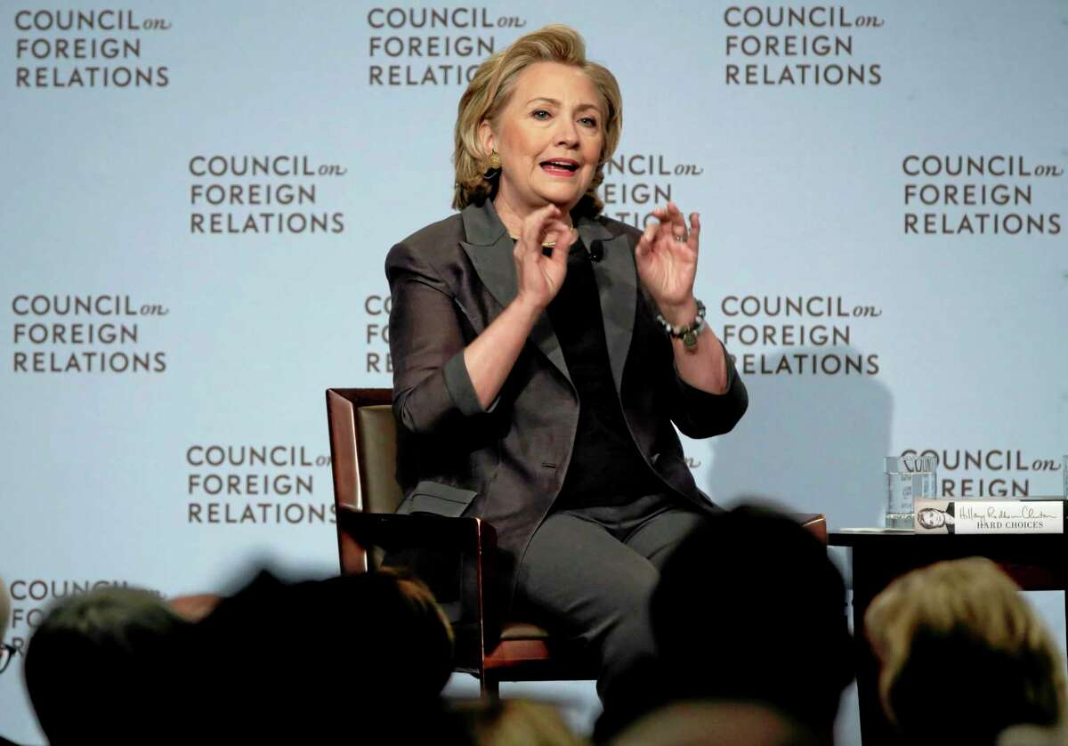 """Hillary Clinton participates in a conversation about her career in government and her new book, """"Hard Choices.,"""" at the Council on Foreign Relations, in New York, Thursday, June 12, 2014."""
