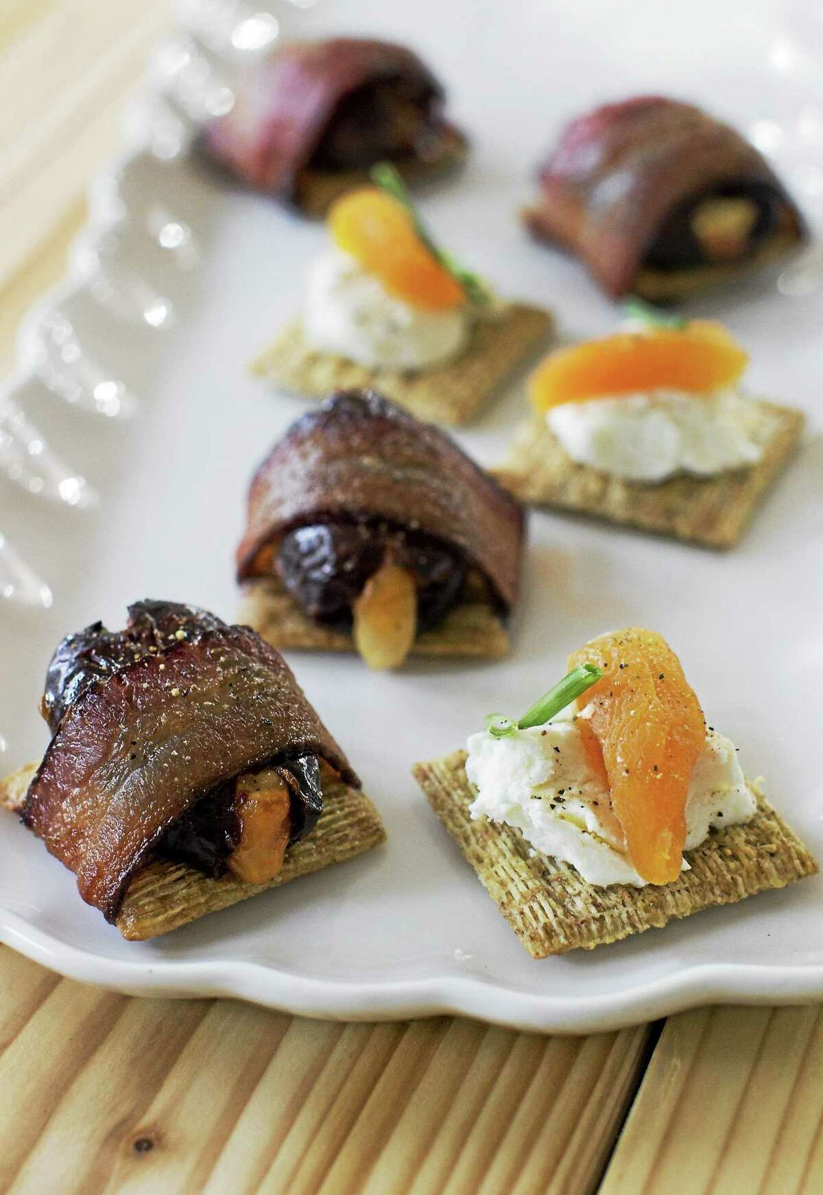 Triscuits With Dates and Bacon.