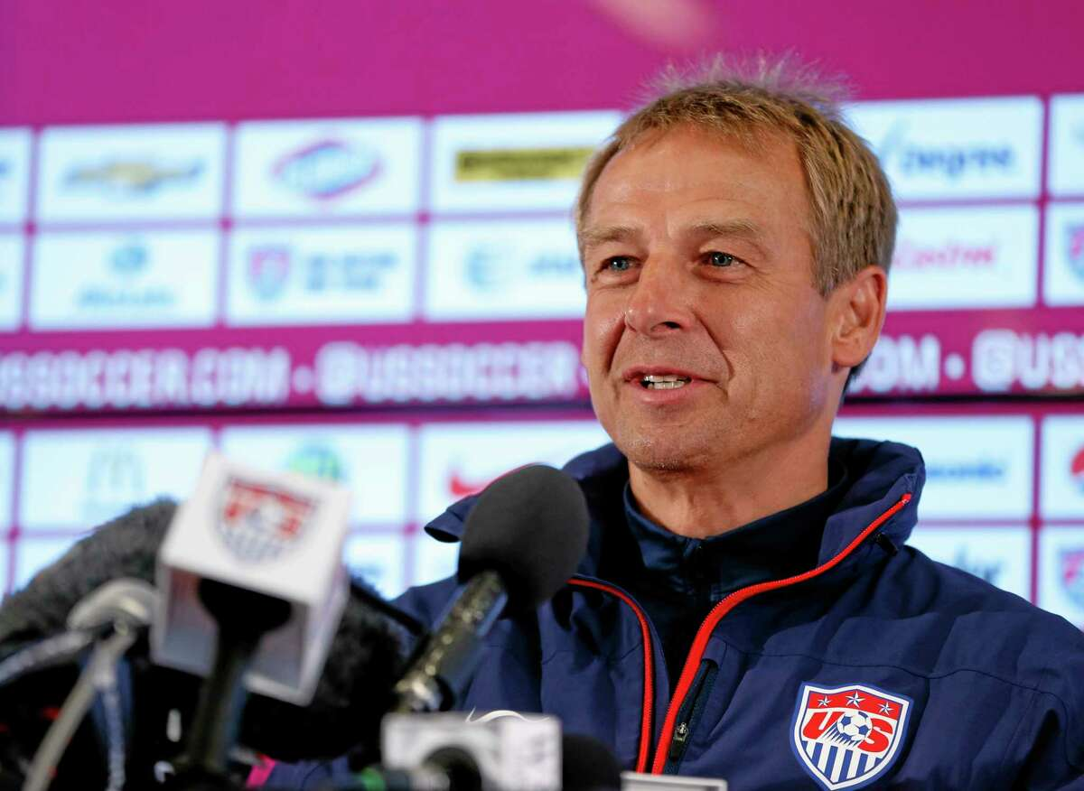 United States head coach Juergen Klinsmann attends a Wednesday news conference before a training session at the Sao Paulo FC training center in Sao Paulo, Brazil. The U.S. will play in Group G when the World Cup begins.