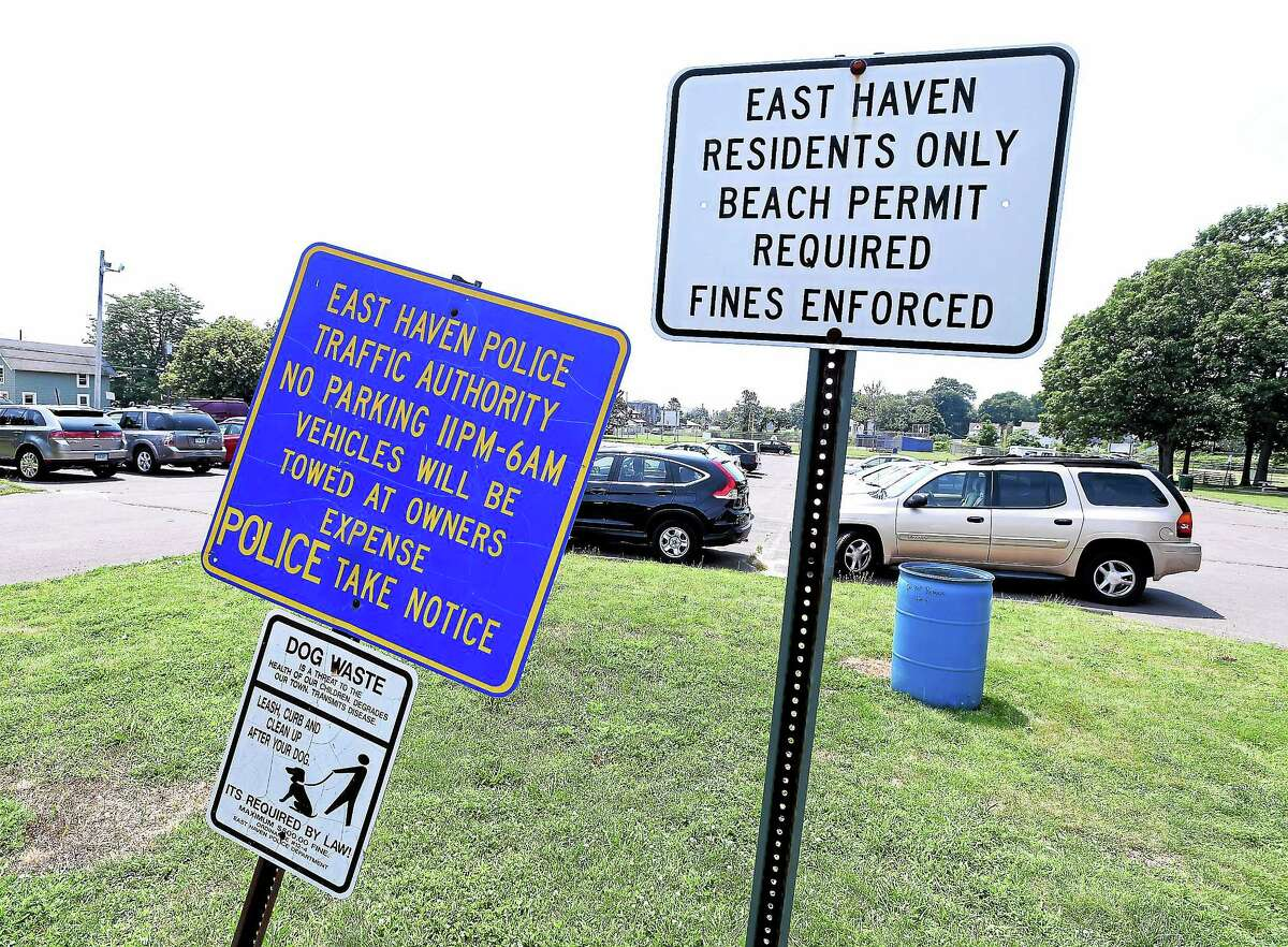 The town parking lot on Coe Ave. at Cosey Beach in East Haven on 7/8/2014.