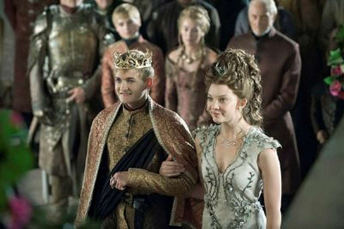 (L-R) Dean-Charles Chapman as Martyn Lannister, Jack Gleeson as Joffrey Baratheon, Lena Headey as Cersei Lannister, Natalie Dormer as Margaery Tyrell and Charles Dance as Tywin Lannister in 'Game of Thrones.' (Helen Sloan/HBO)