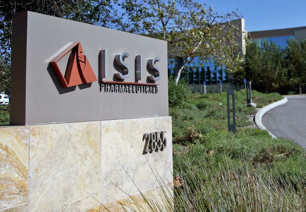 Signage outside the headquarters building of Isis Pharmaceuticals Inc. in Carlsbad, California.