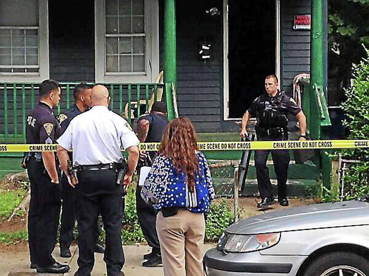 Police investigate a shooting on Frank Street in New Haven Wednesday evening.