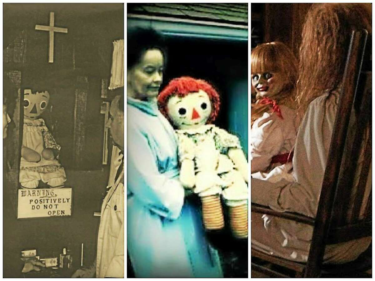 """From left to right: The original Annabelle doll encased for display at Warren's Occult Museum in Monroe, Conn.; Lorraine Warren carries the Annabelle doll; and screenshot of a scene in New Life Cinema's """"Annabelle"""" movie."""