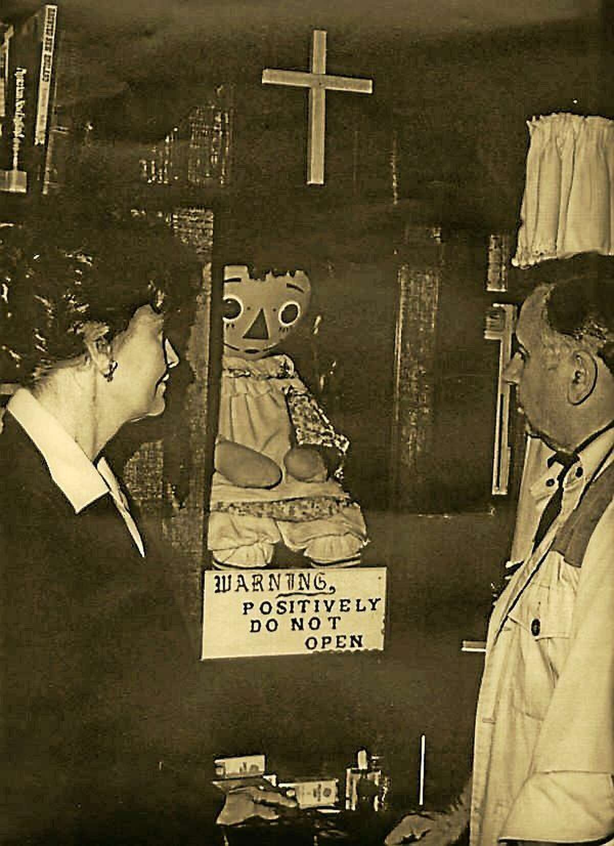 The Annabelle doll on display at Warren's Occult Museum